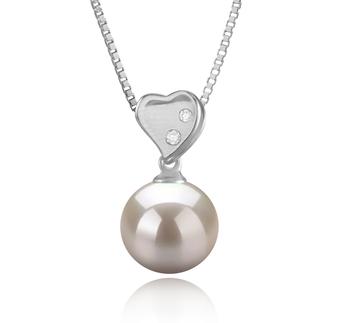 Taima Heart Bianco 9-10mm Qualità AAAA - Perla Pendente di Acqua Dolce - Argento Sterling 925