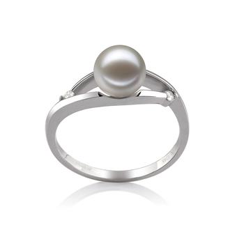Tanya Bianco 6-7mm Qualità AAAA - Anello Perla di Acqua Dolce - Oro Bianco 14k