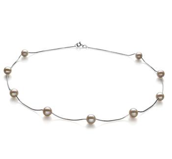 Tin Cup Bianco 7-8mm Qualità AA - Collana di Perle di Acqua Dolce - Argento Sterling 925