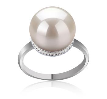 TINDRA Bianco 10-11mm Qualità AAAA - Anello Perla di Acqua Dolce - Argento Sterling 925