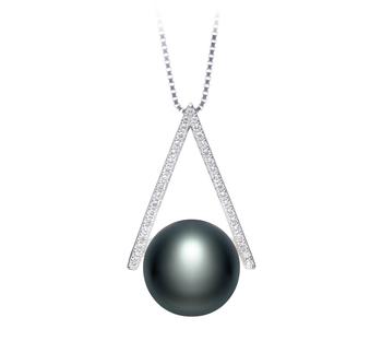 Triangolo Nero 12-13mm Qualità AA - Perla Pendente di Acqua Dolce - Argento Sterling 925