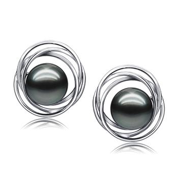 Triplo Cerchio Perle Nero 9-10mm Qualità AAA - Set Orecchini Di Tahiti - Oro Bianco 14k