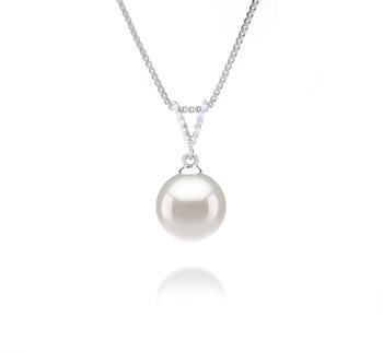 Vondra Bianco 9-10mm Qualità AAAA - Perla Pendente di Acqua Dolce - Argento Sterling 925