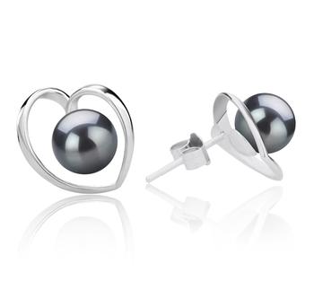 Winna-cuore Nero 6-7mm Qualità AAAA - Set Orecchini di Perle Acqua Dolce - Argento Sterling 925