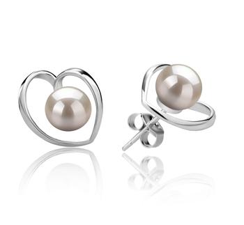 Winna-cuore Bianco 6-7mm Qualità AAAA - Set Orecchini di Perle Acqua Dolce - Argento Sterling 925