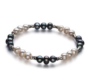 YinYang Nero e Bianco 6-7mm Qualità A - Braccialetto di Perle di Acqua Dolce